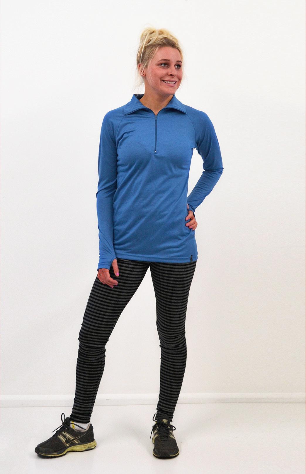 Zip Neck Top - Ultralight (170g) - Women's Bright Blue Ultralight Wool Zip Neck Pullover Style Top with Thumb Holes - Smitten Merino Tasmania Australia