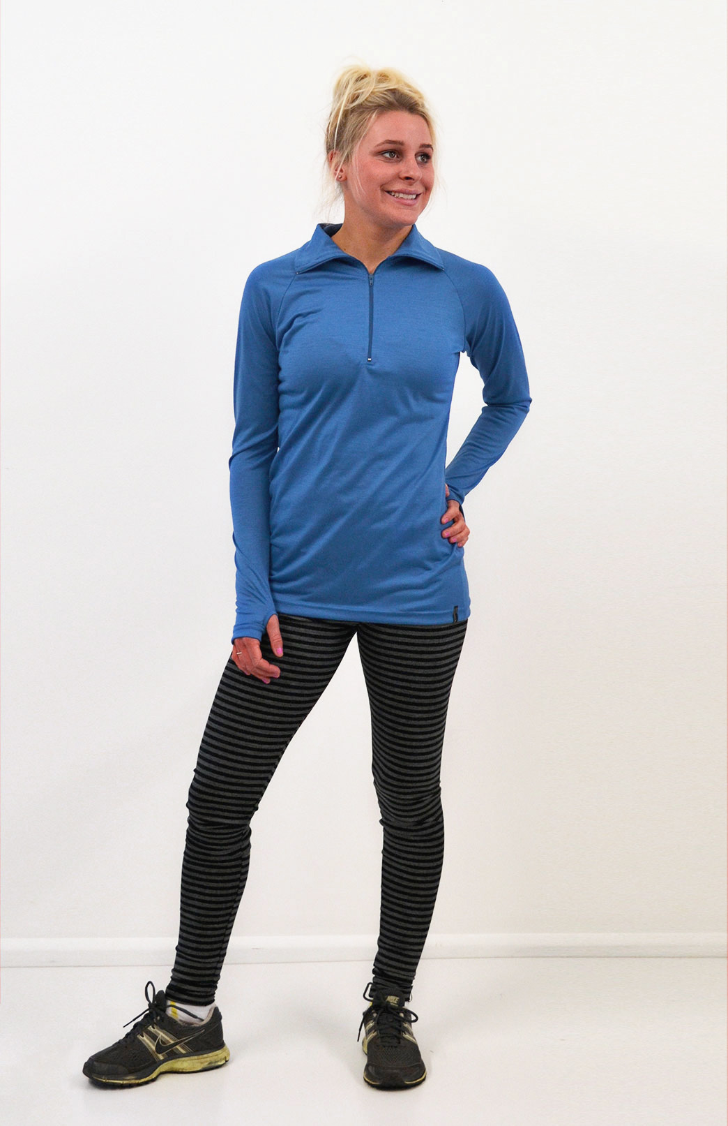 Zip Neck Top - Ultralight (170g) - Women's Bright Blue Ultralight Wool Zip Neck Pullover Style Top with Thumb Holes - Smitten Merino Tasmania Australia