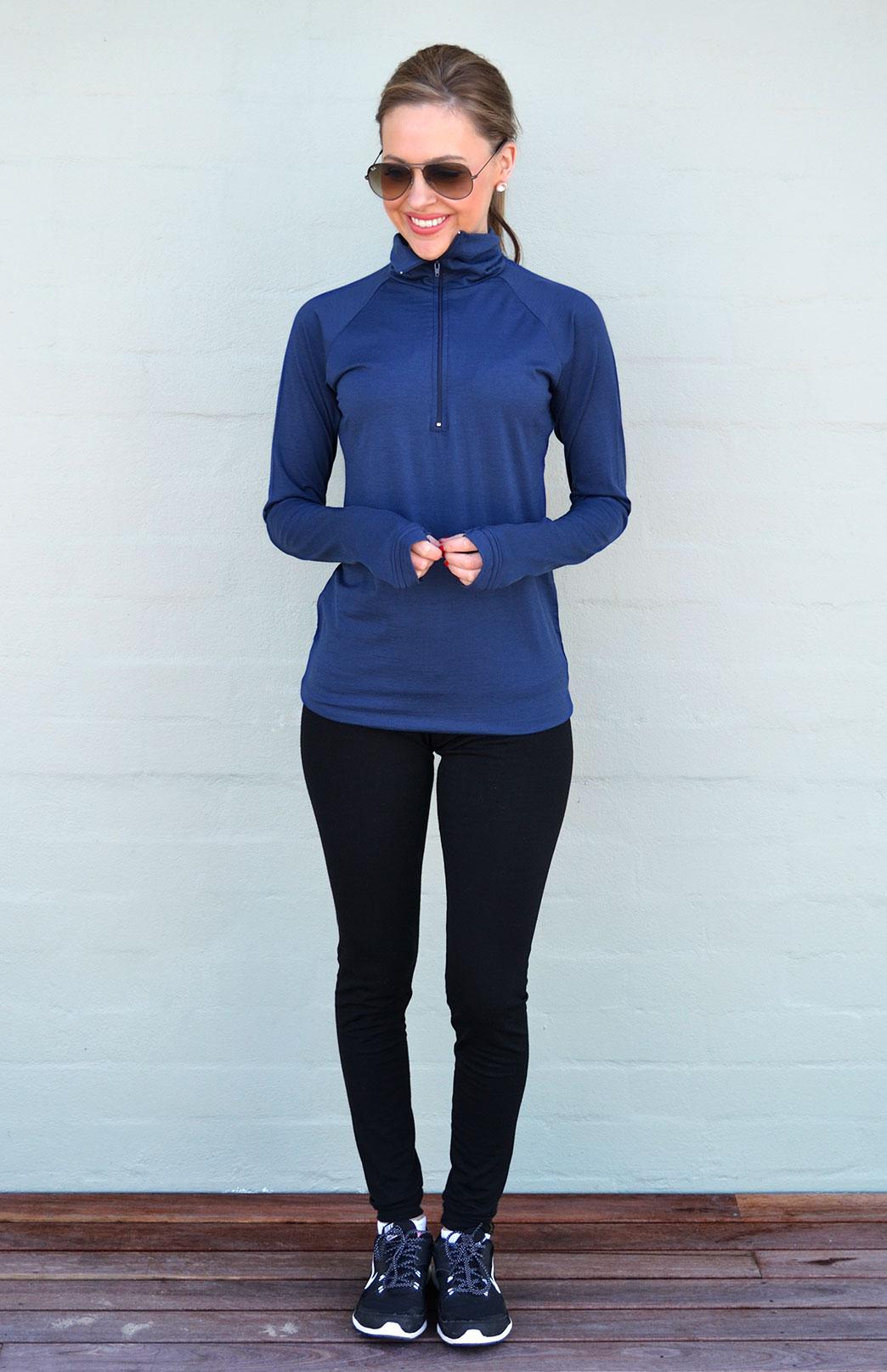 Zip Neck Top - Midweight (200g) - Women's Indigo Blue Zip Neck Pull Over Style Top with thumb holes - Smitten Merino Tasmania Australia
