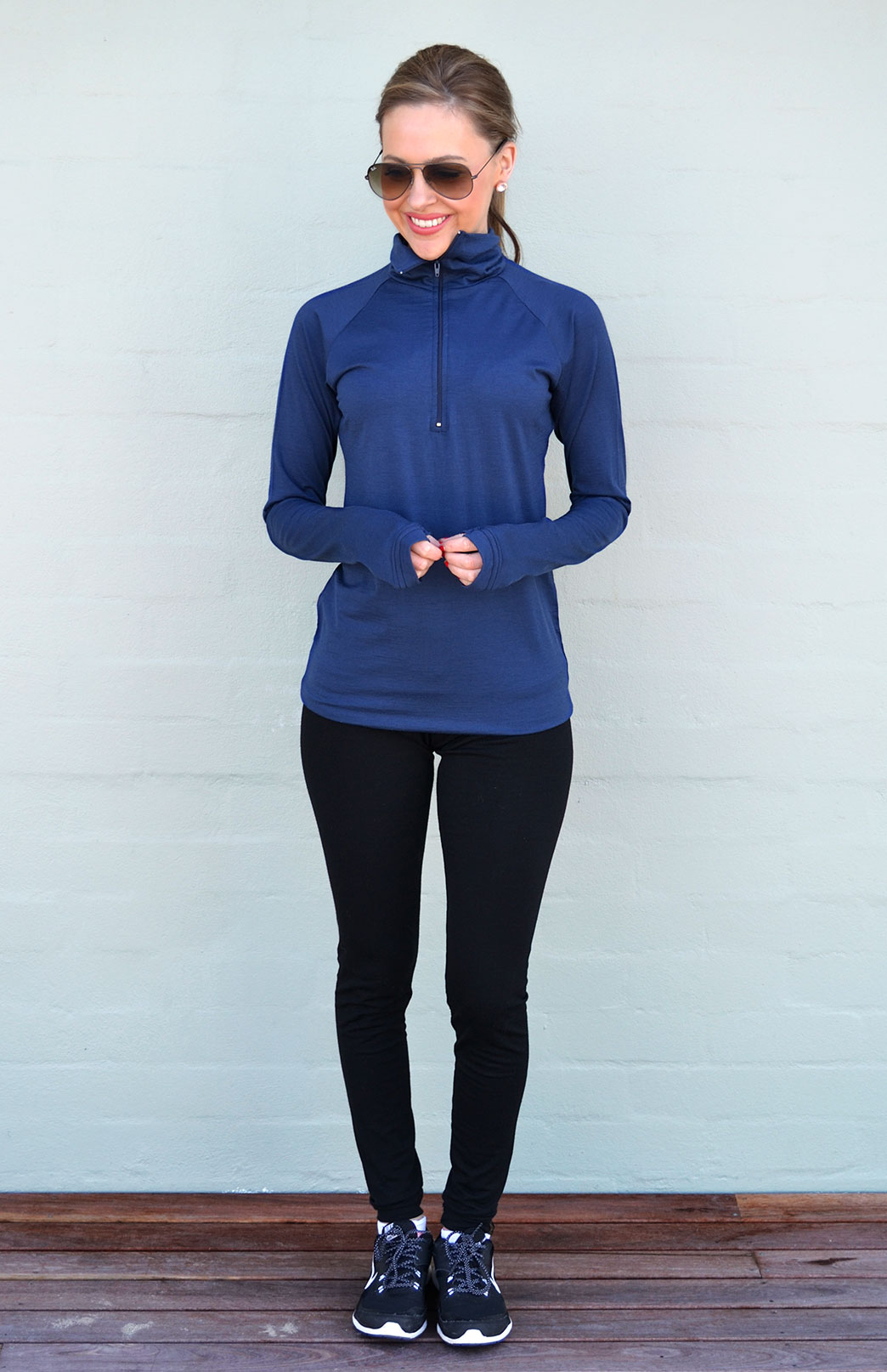 Zip Neck Top - Midweight (200g) - Women's Indigo Blue Zip Neck Pull Over Style Top with thumb holes - Smitten Merino Tasmania Australia
