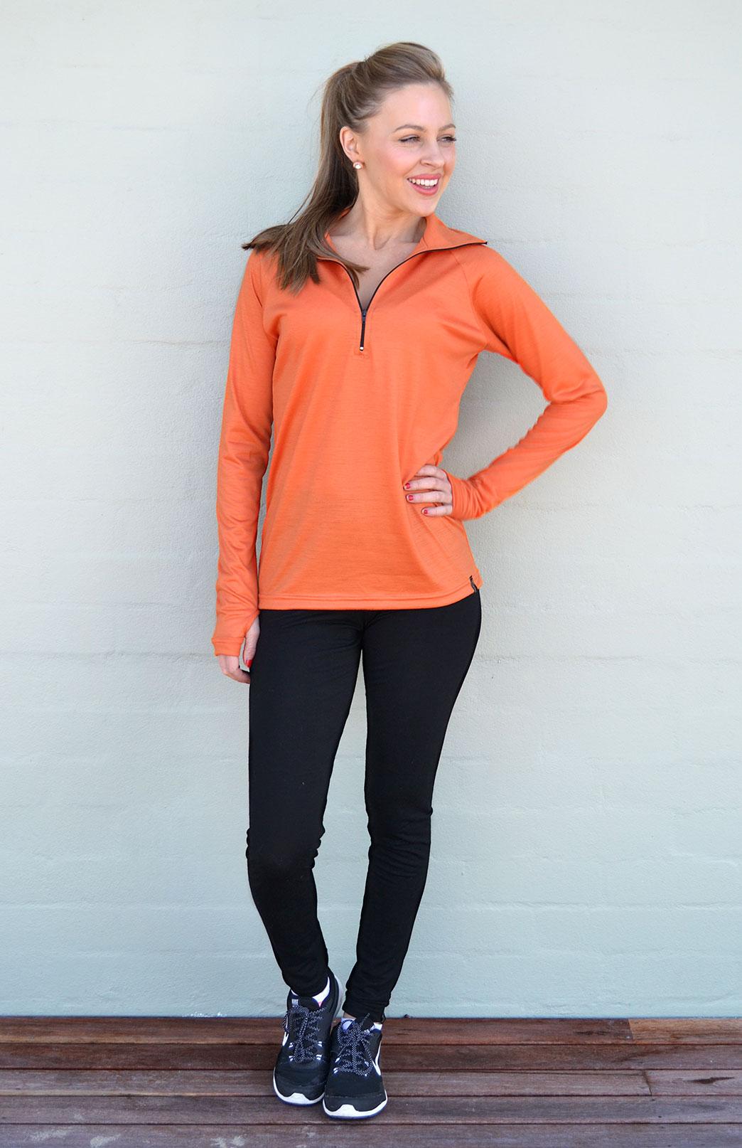 Zip Neck Top - Ultralight (170g) - Women's Bright Orange Wool Ultralight Zip Neck Pullover Style Top with Thumb Holes - Smitten Merino Tasmania Australia