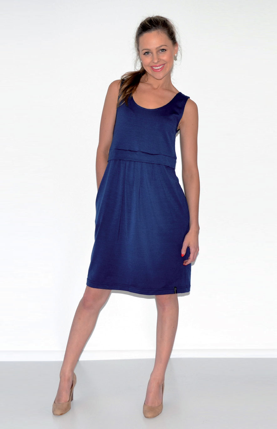 Tulip Dress - Women's Indigo Blue Merino Wool Fitted Tulip Dress with Side Pockets - Smitten Merino Tasmania Australia