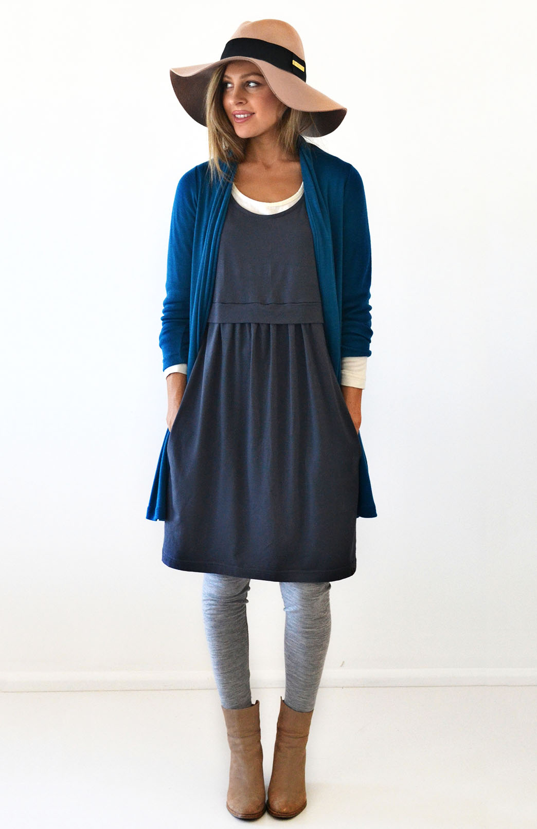 Tulip Dress - Women's Steel Grey Merino Wool Fitted Tulip Dress with Side Pockets - Smitten Merino Tasmania Australia