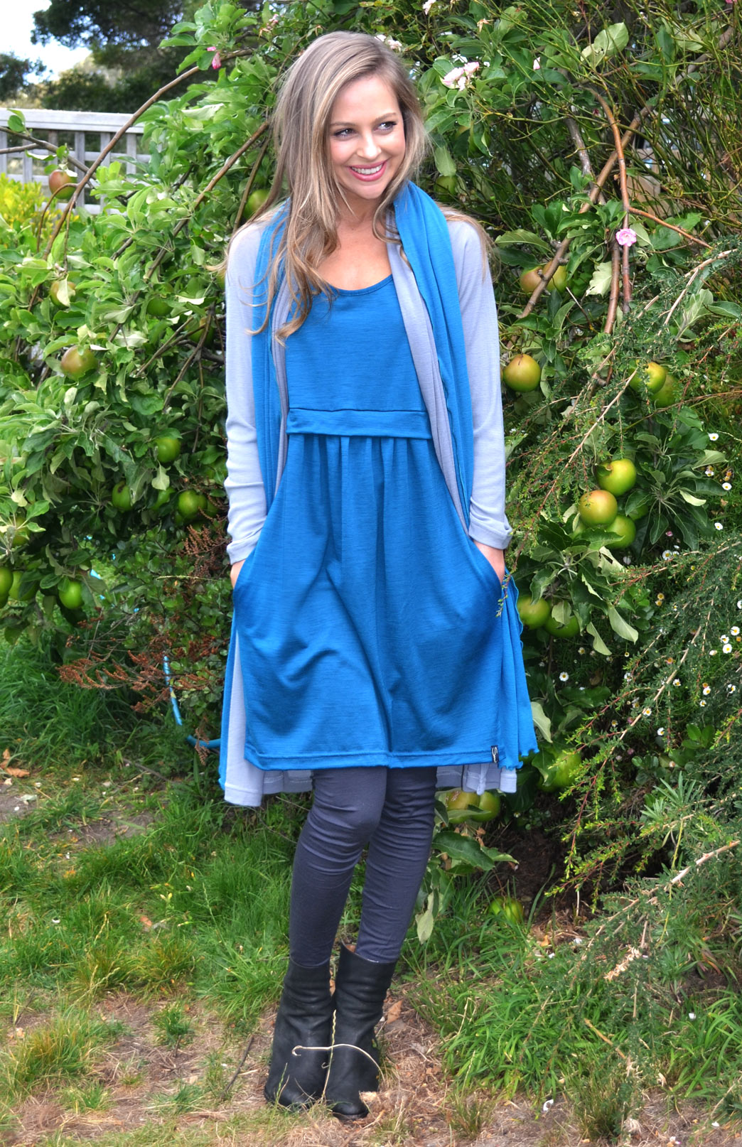 Tulip Dress - Women's Teal Merino Wool Fitted Tulip Dress with Side Pockets - Smitten Merino Tasmania Australia