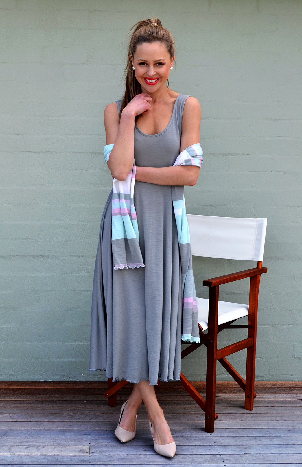 Fan Dress - Women's Frost Fan Dress with Empire Waistline - Smitten Merino Tasmania Australia