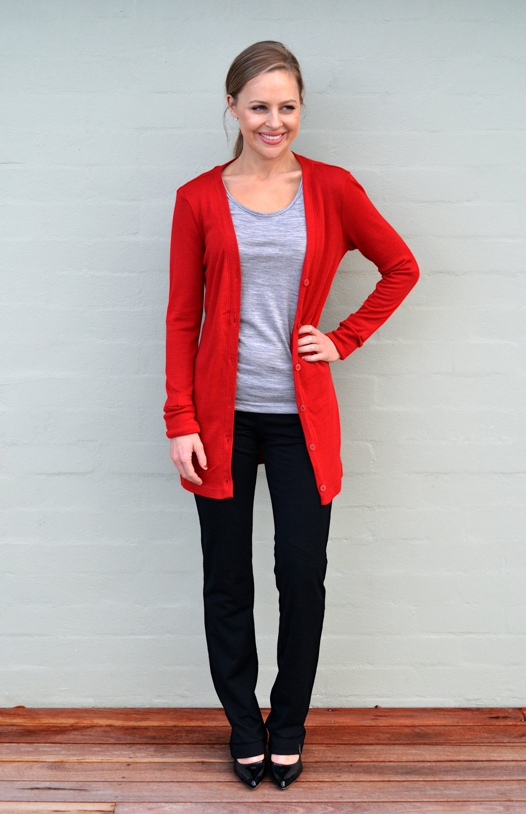 Button Cardigan - Women's Flame Red Wool Cardigan with Buttons - Smitten Merino Tasmania Australia