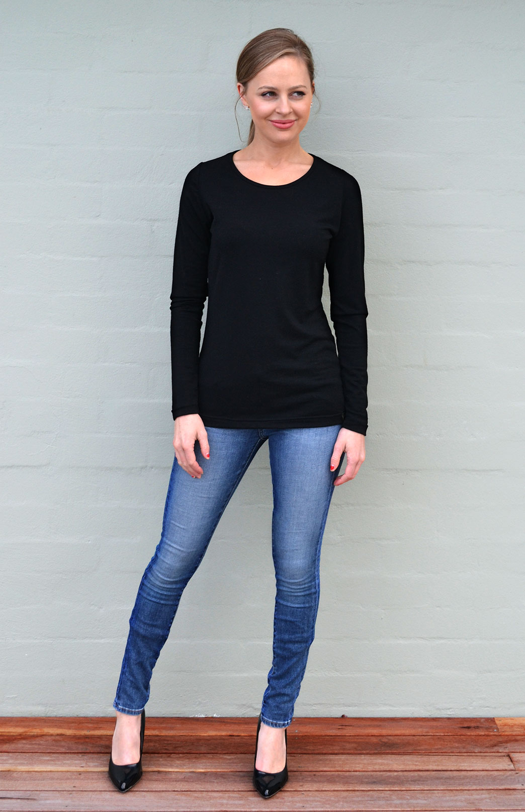 Round Neck Top - Plain - Women's Classic Black Long Sleeve Merino Wool Layering Fashion Top - Smitten Merino Tasmania Australia