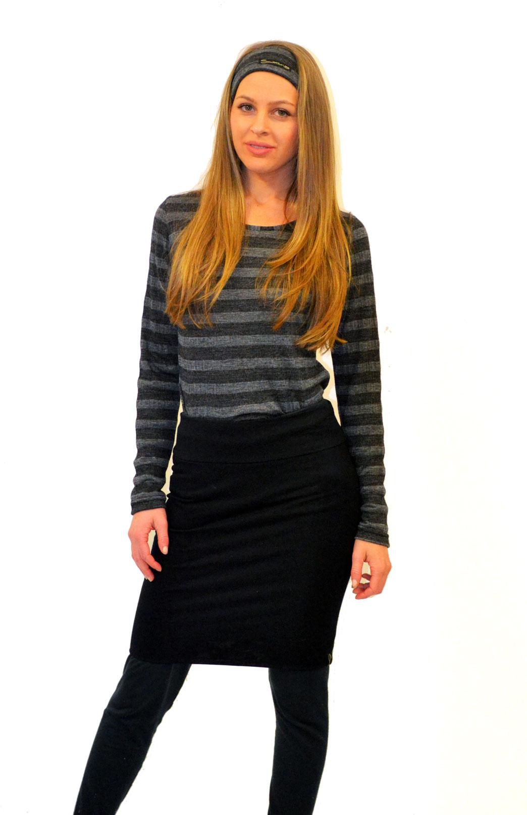 Round Neck Top - Patterned - Women's Black and Grey Wide Stripe Long Sleeved Merino Wool Thermal Fashion Top - Smitten Merino Tasmania Australia