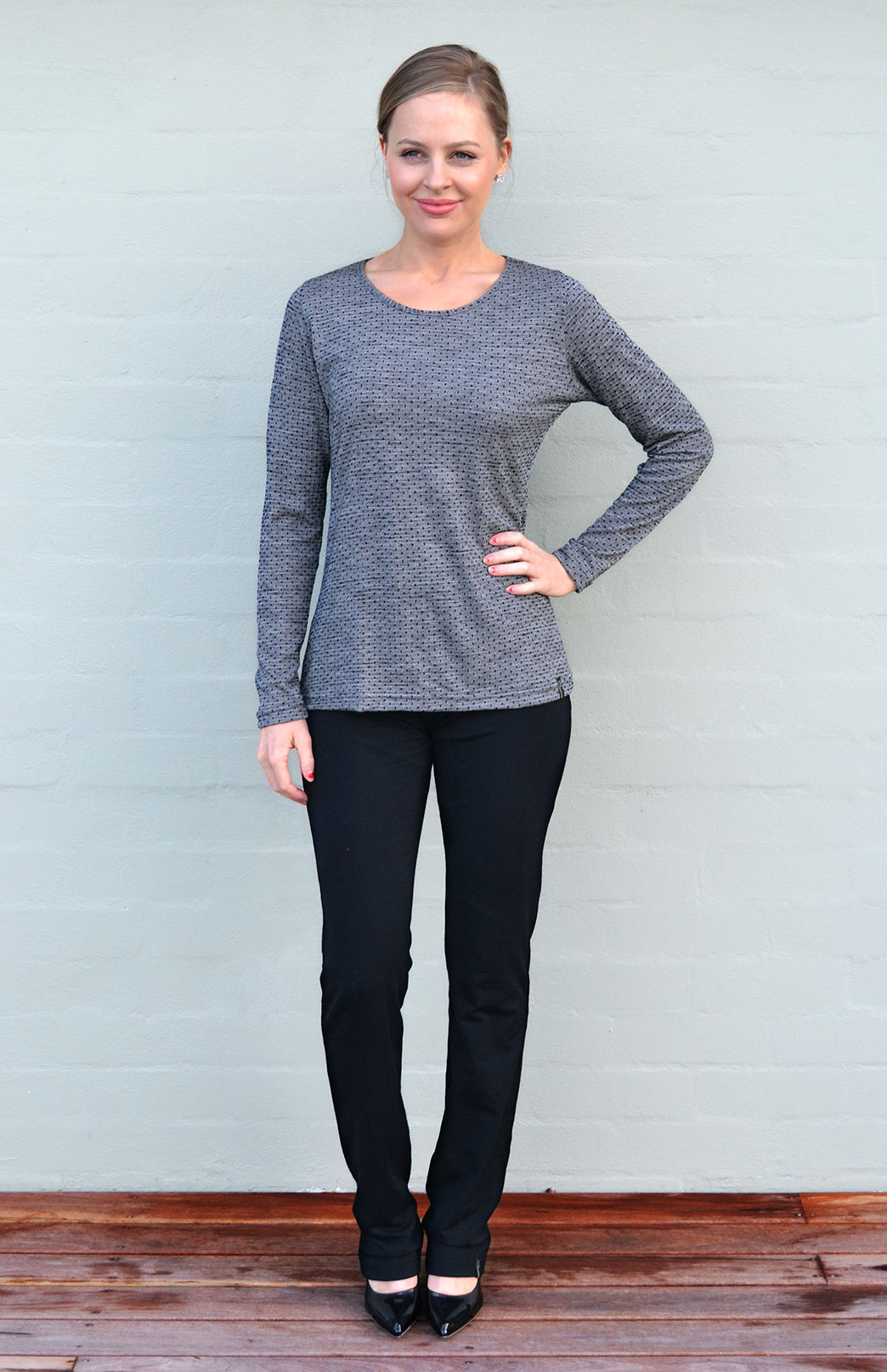 Round Neck Top - Patterned - Women's Black and Grey Spot Long Sleeved Merino Wool Thermal Fashion Top - Smitten Merino Tasmania Australia