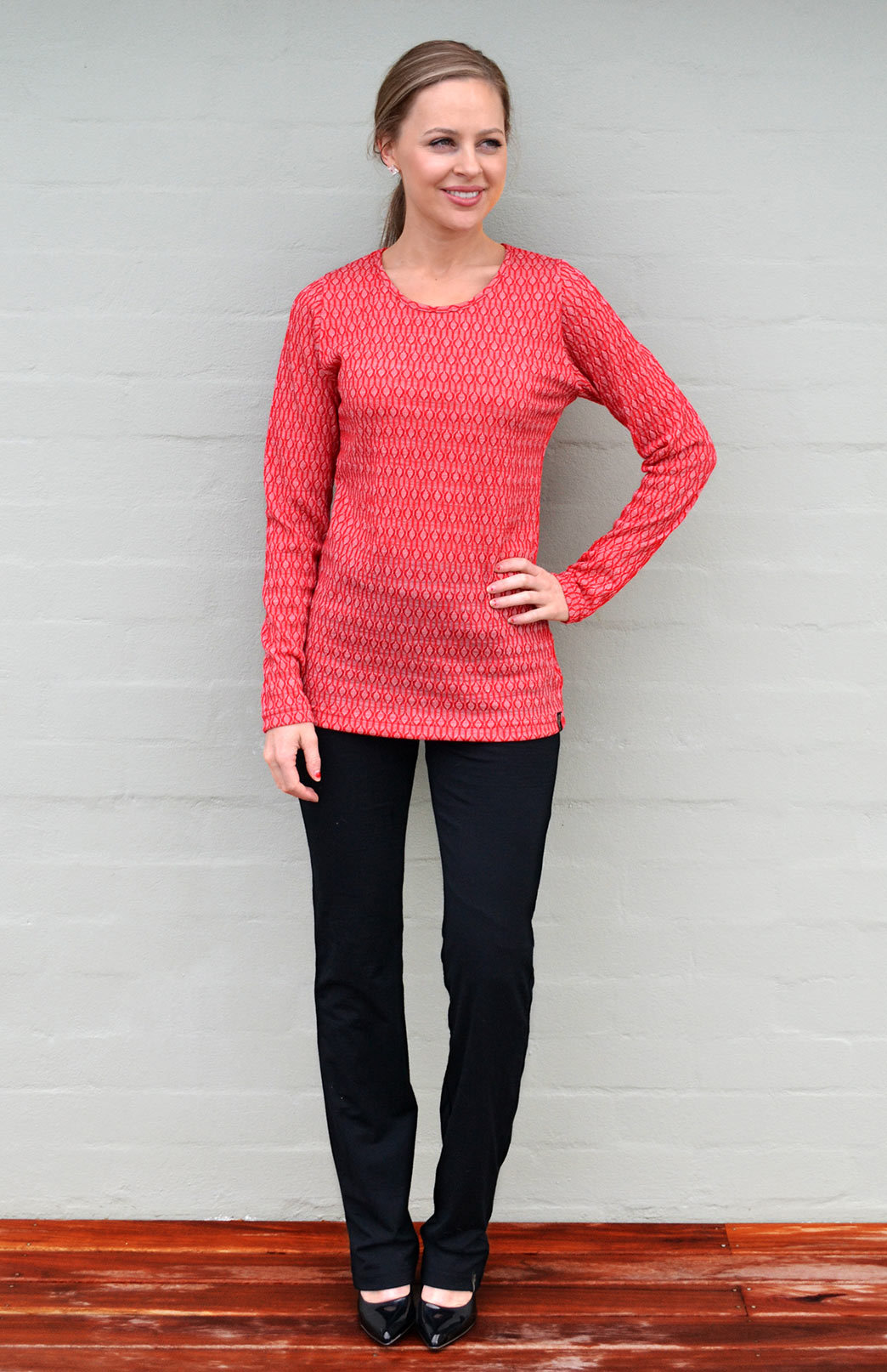 Round Neck Top - Patterned - Women's Bright Red Keyhole Patterned Long Sleeve Merino Wool Thermal Fashion Top - Smitten Merino Tasmania Australia