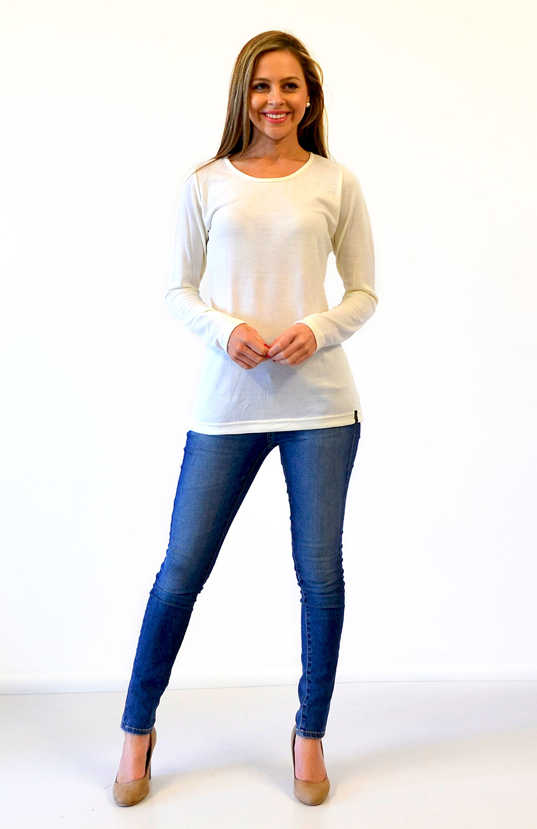 Round Neck Top - Plain - Women's Natural Ivory White Long Sleeve Merino Wool Layering Fashion Top - Smitten Merino Tasmania Australia