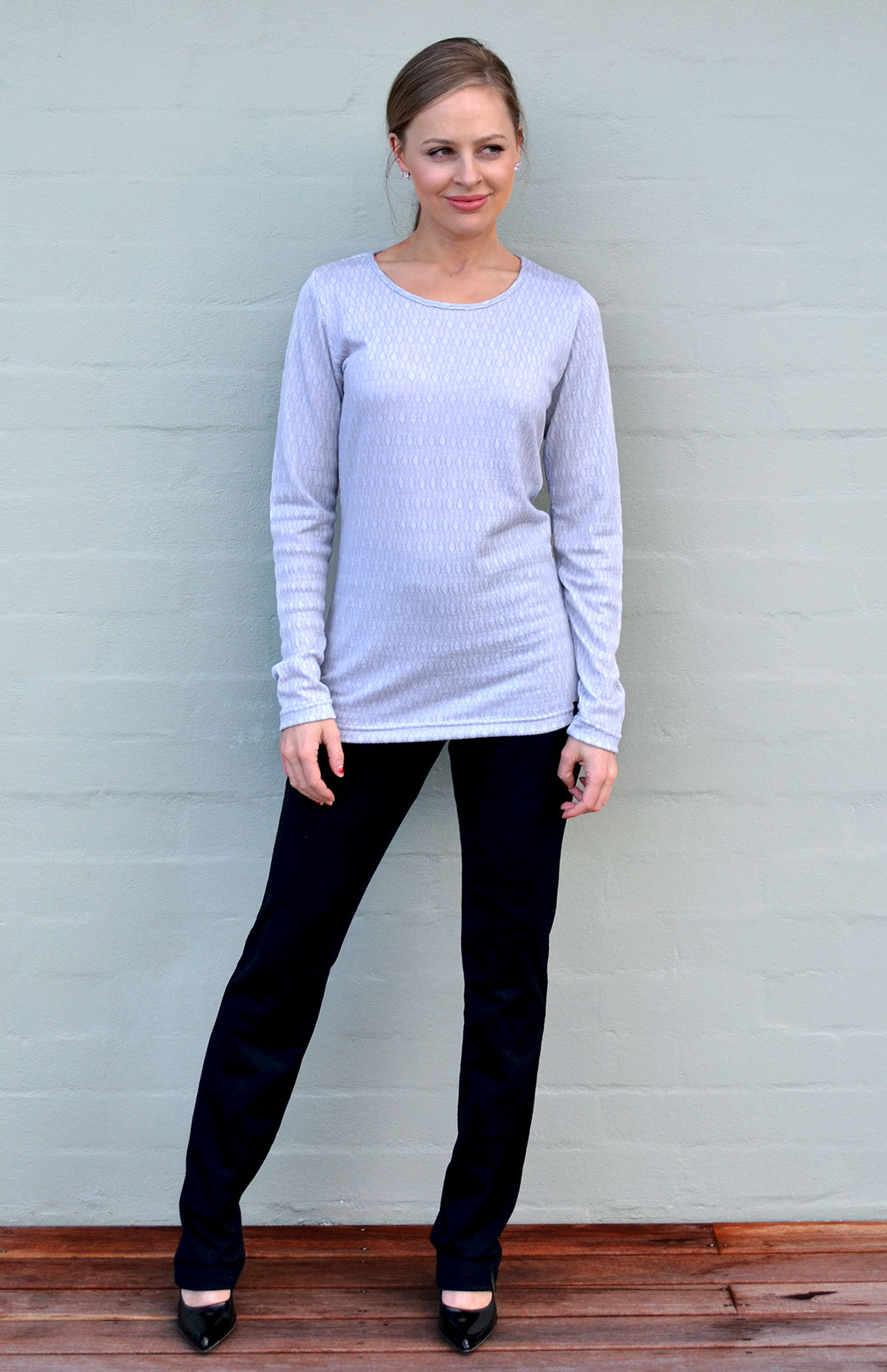 Round Neck Top - Patterned - Women's Soft Grey Patterned Long Sleeve Merino Wool Thermal Fashion Top - Smitten Merino Tasmania Australia