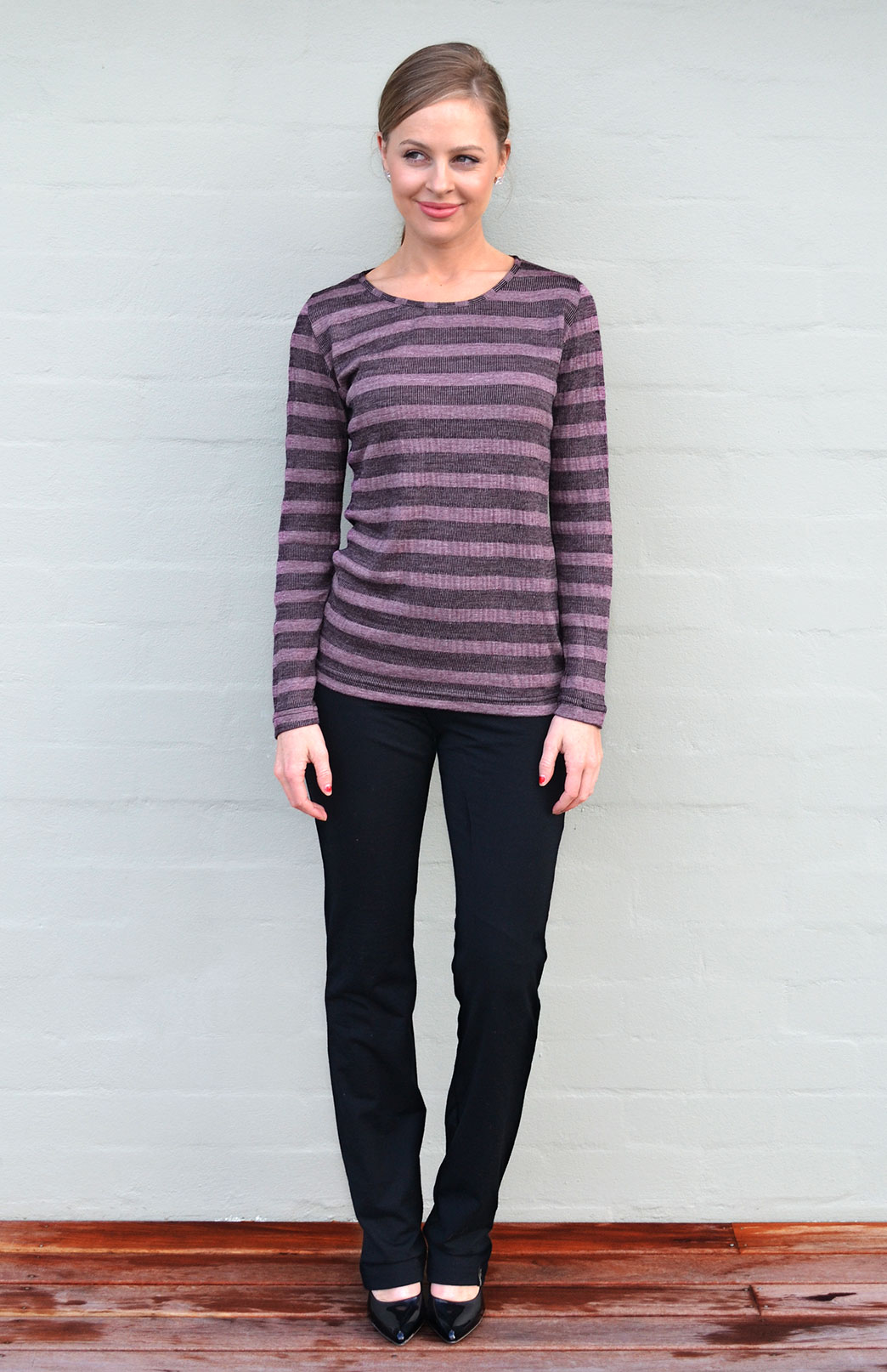 Round Neck Top - Patterned - Women's Purple Raisin Aztec Patterned Merino Wool Long Sleeved Thermal Fashion Top - Smitten Merino Tasmania Australia