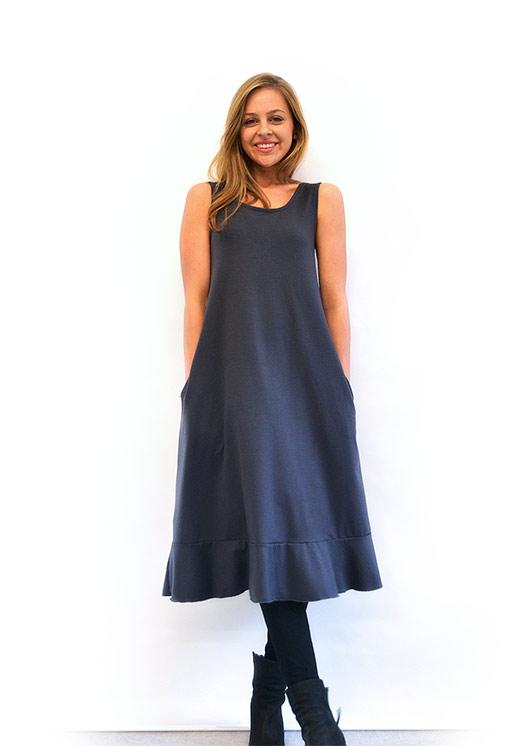 Flounce Swing Dress - Women's Steel Grey Merino Wool Swing Dress with Flounce Hem Detail - Smitten Merino Tasmania Australia