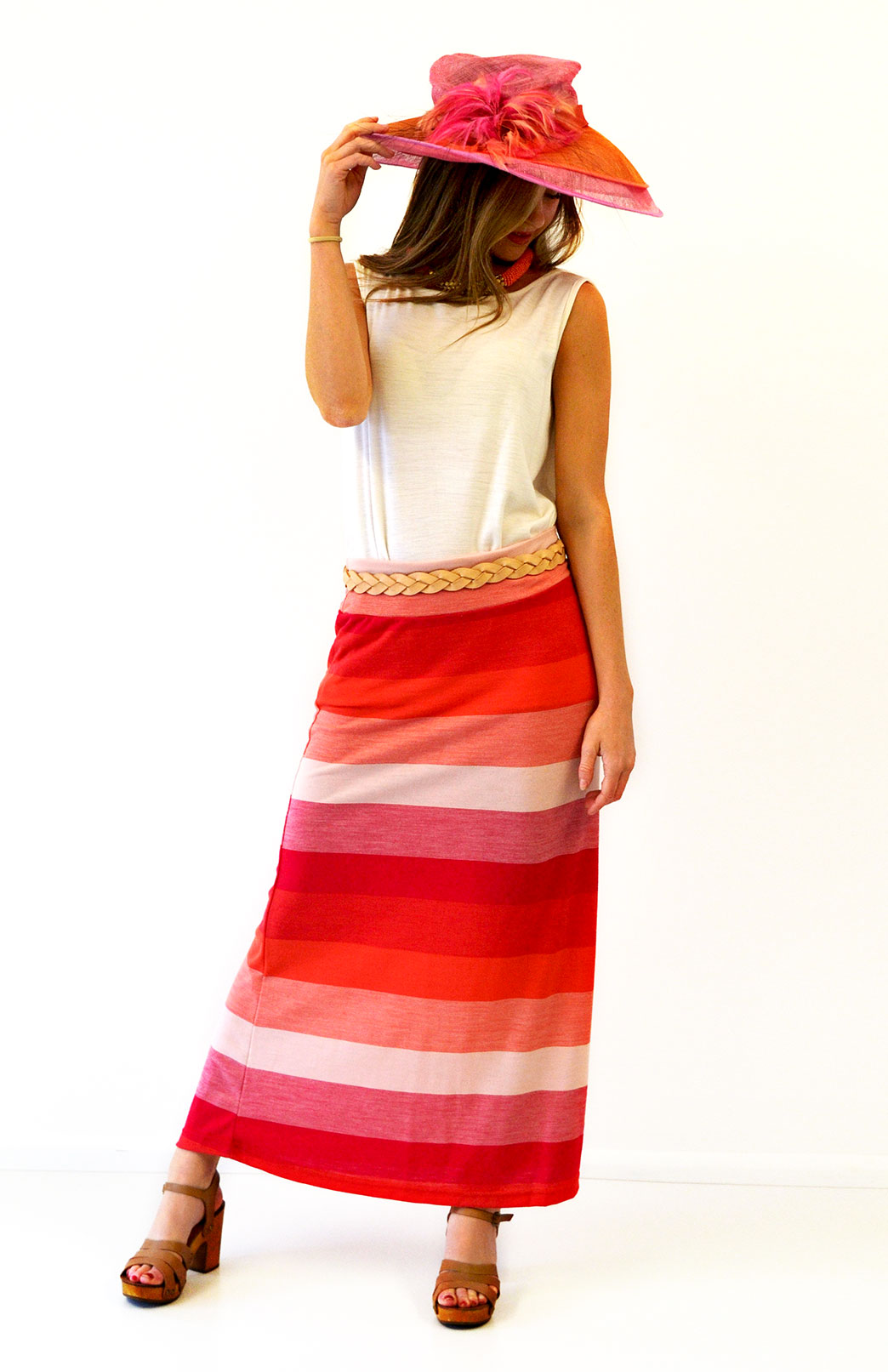 Maxi Skirt - Multi Stripe - Women's Pink and Orange Stripe Wool Maxi Skirt with elastic waistband - Smitten Merino Tasmania Australia