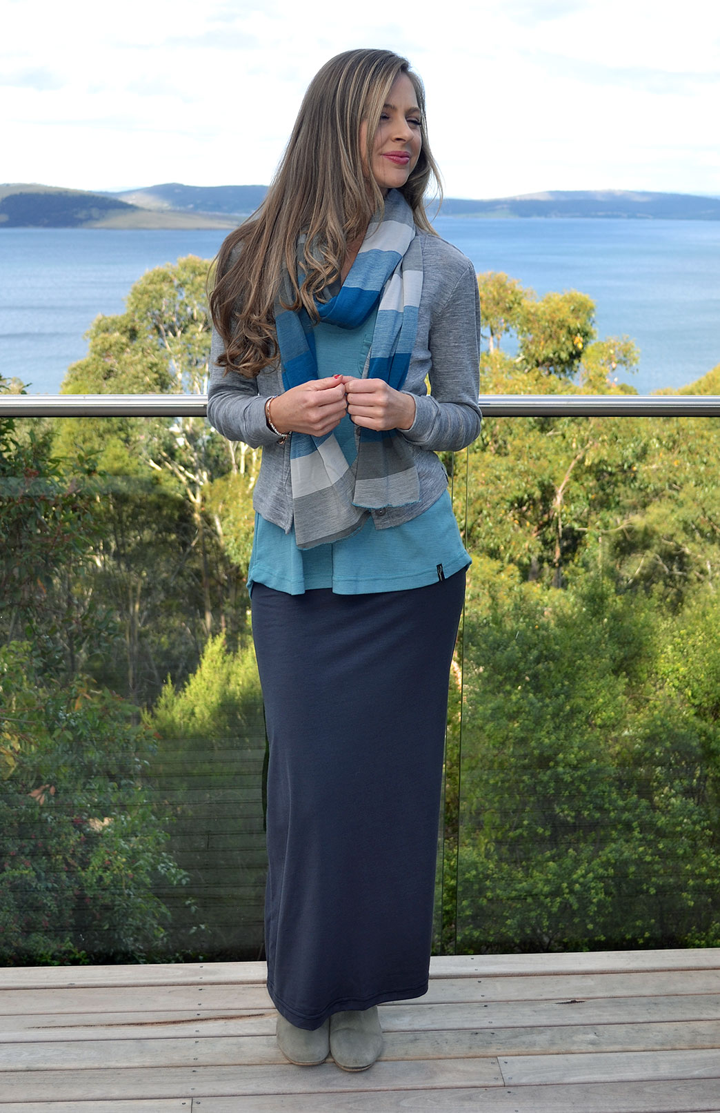 Maxi Skirt - Women's Steel Grey Wool Summer Maxi Skirt - Smitten Merino Tasmania Australia