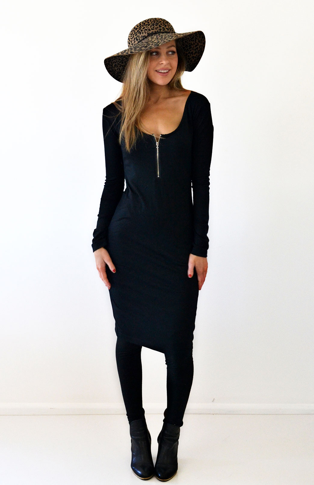 Scoop Neck Zip Dress - Smitten Merino Tasmania Australia