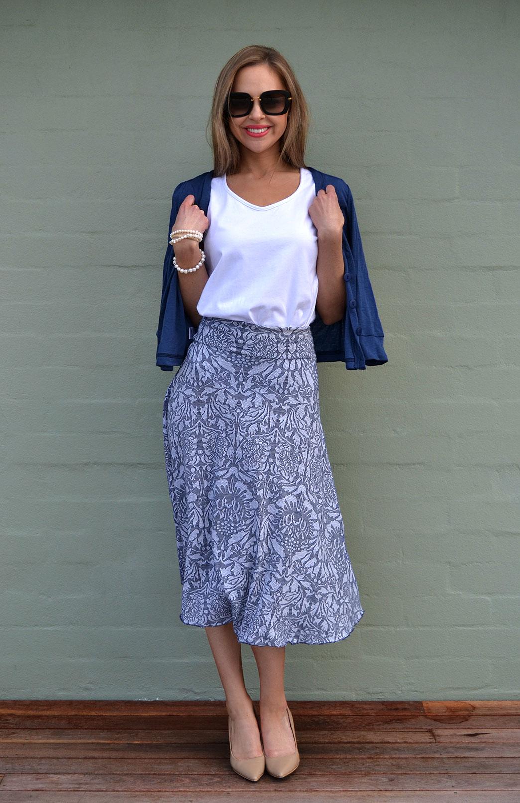 Abbey Floral Twirl Skirt - Women's Blue Floral A-Line Swing Wool Skirt - Smitten Merino Tasmania Australia