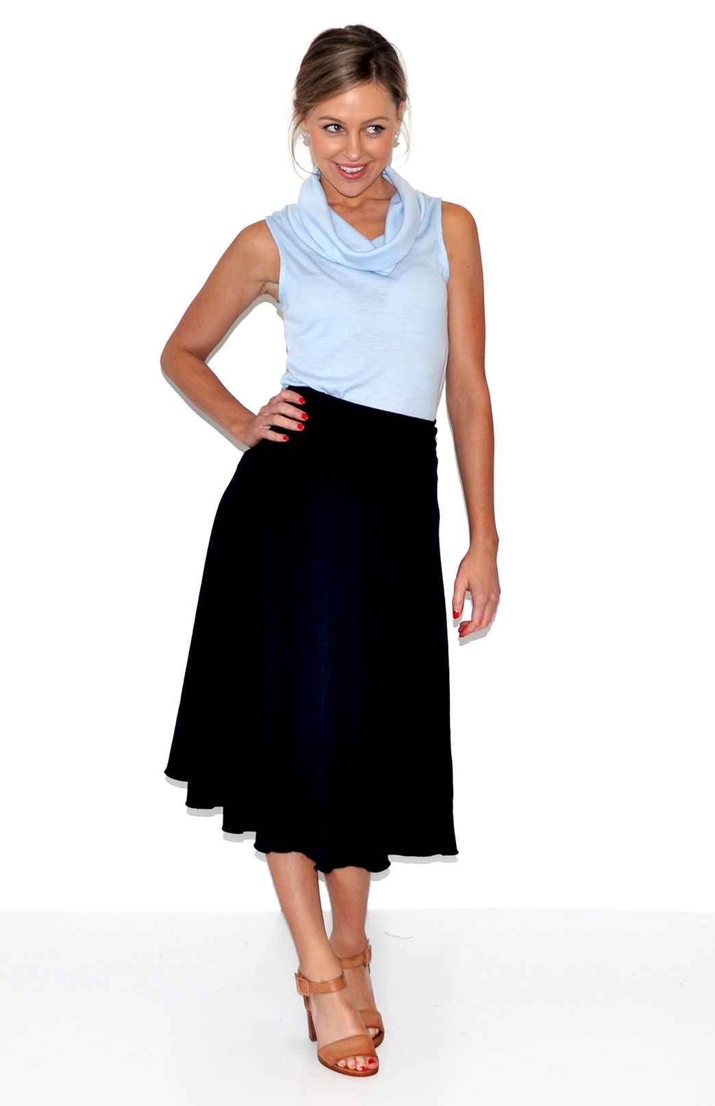 Cowl Neck Top - Sleeveless - Women's Icy Blue Sleeveless Trans-Seasonal Wool Top - Smitten Merino Tasmania Australia