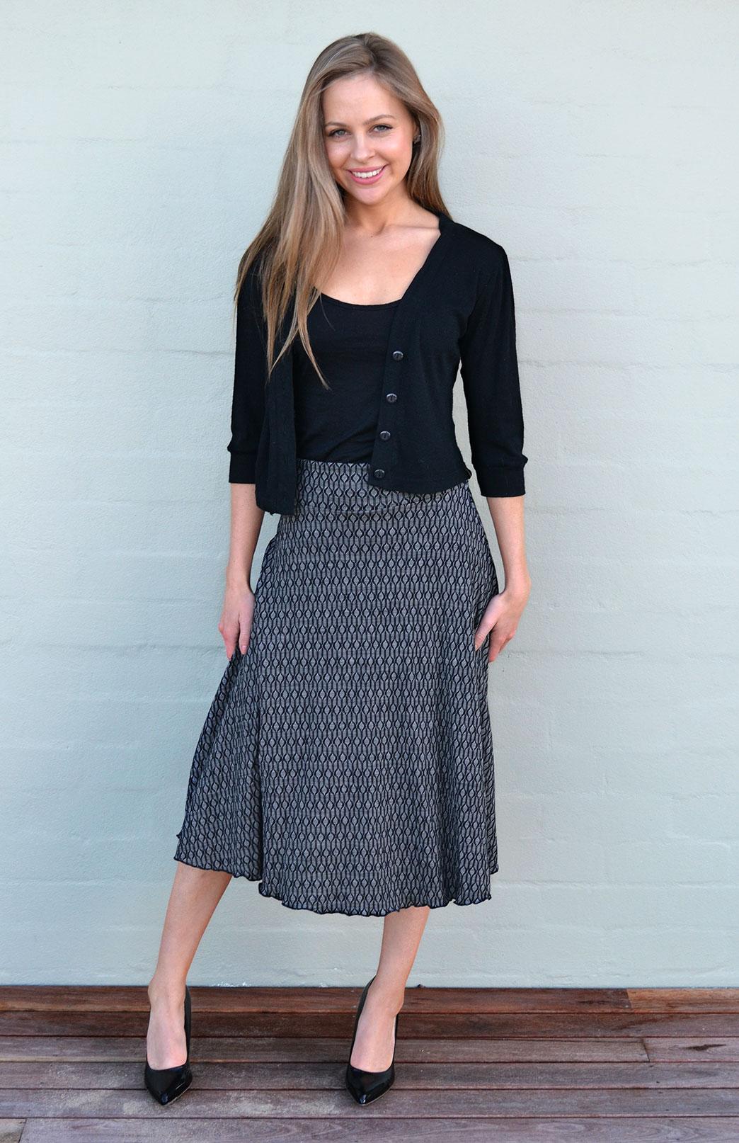 Twirl Skirt - Women's Black Keyhole A-Line Swing Wool Skirt - Smitten Merino Tasmania Australia
