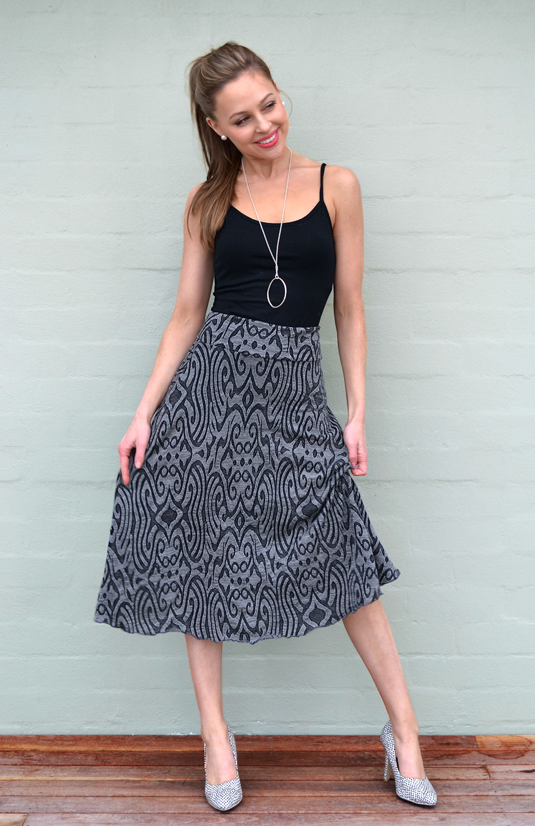 Twirl Skirt - Women's Black and Grey Patterned A-Line Skirt - Smitten Merino Tasmania Australia