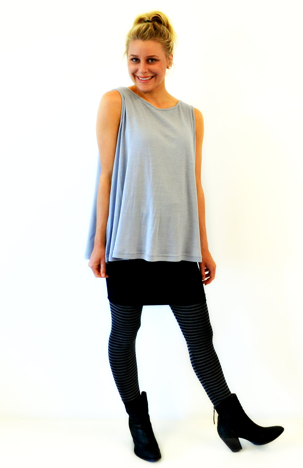 Sleeveless Flutter Top in Armani Grey