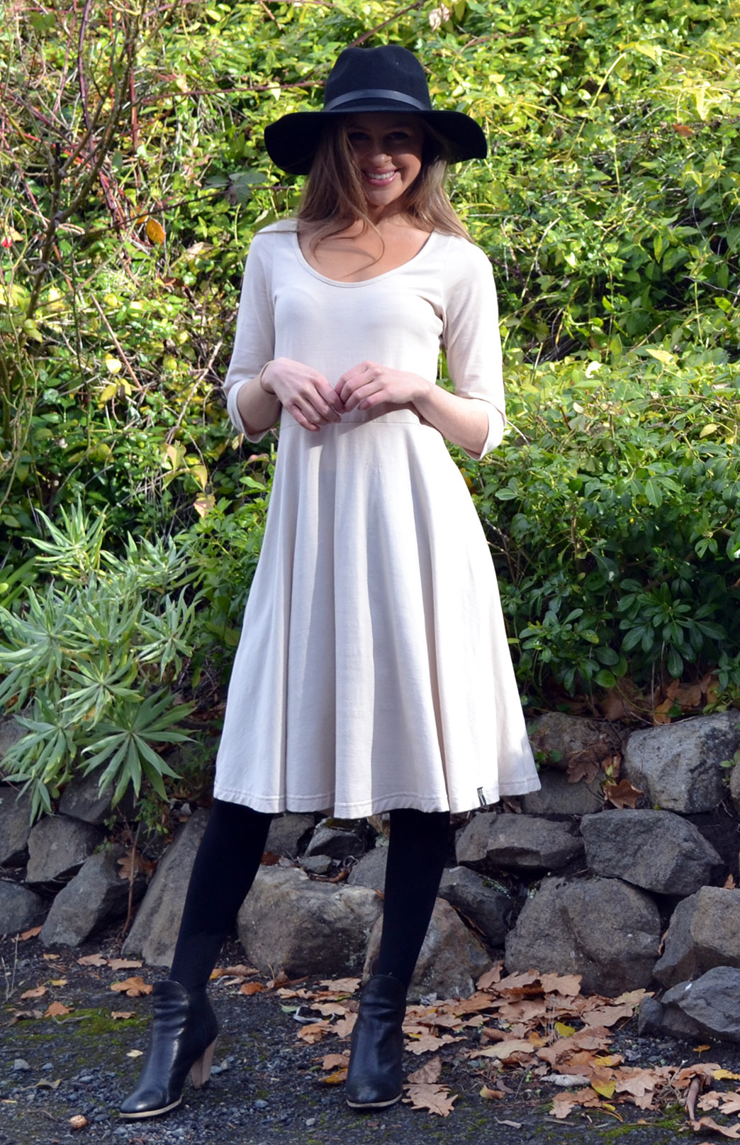 Jackie Dress - 3/4 Sleeves - Women's Cream 3/4 Sleeved Wool Dress with Scoop Neckline - Smitten Merino Tasmania Australia