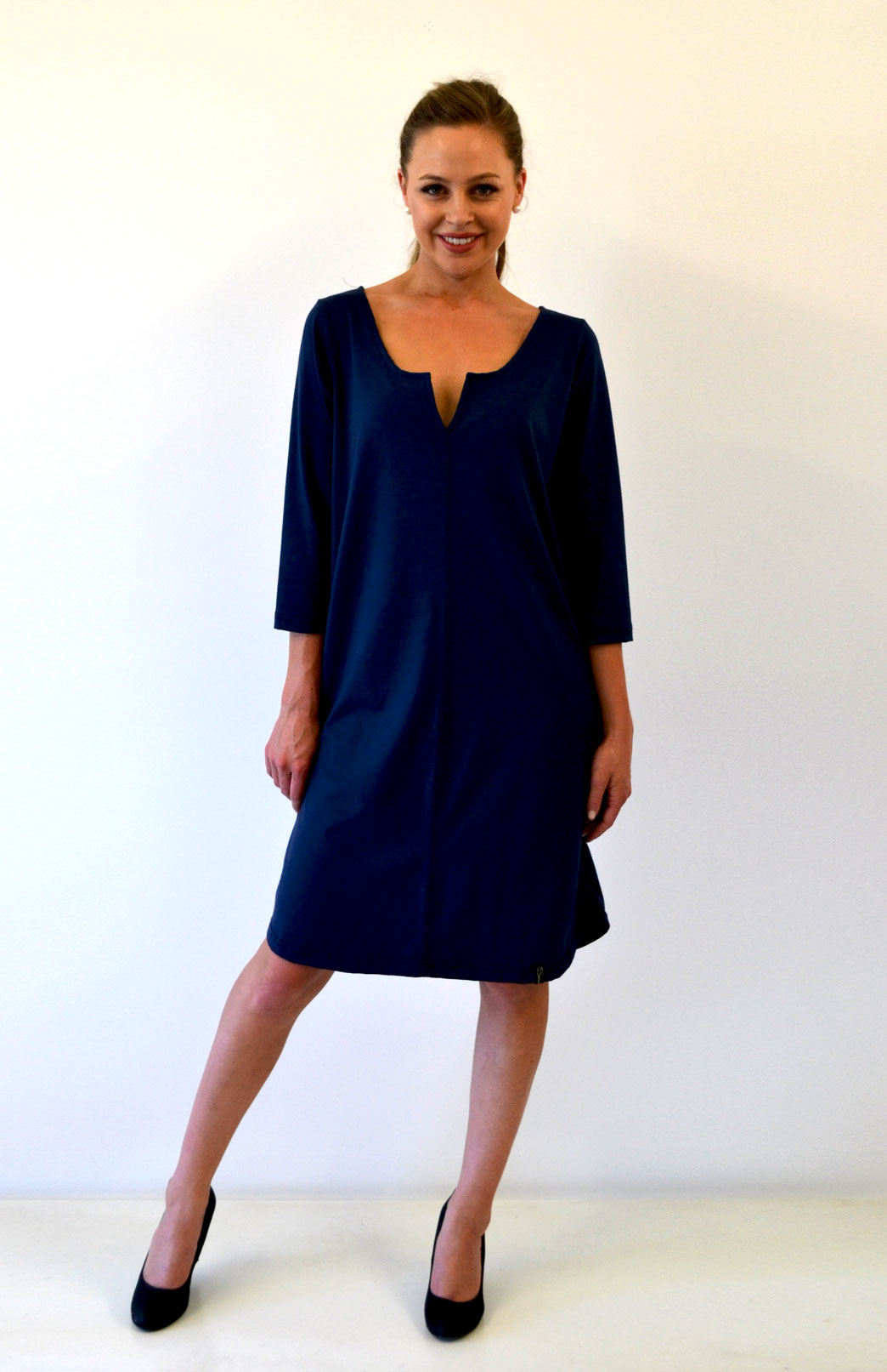 Shift Dress - Heavyweight - Women's Pure Merino Wool Heavyweight Black Shift Dress with V-Neckline - Smitten Merino Tasmania Australia