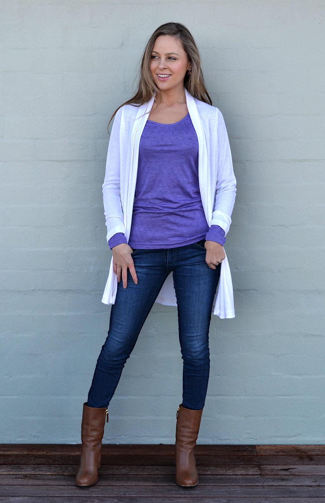 Drape Cardigan - Women's Ivory White Pure Merino Wool Drape Long Cardigan - Smitten Merino Tasmania Australia