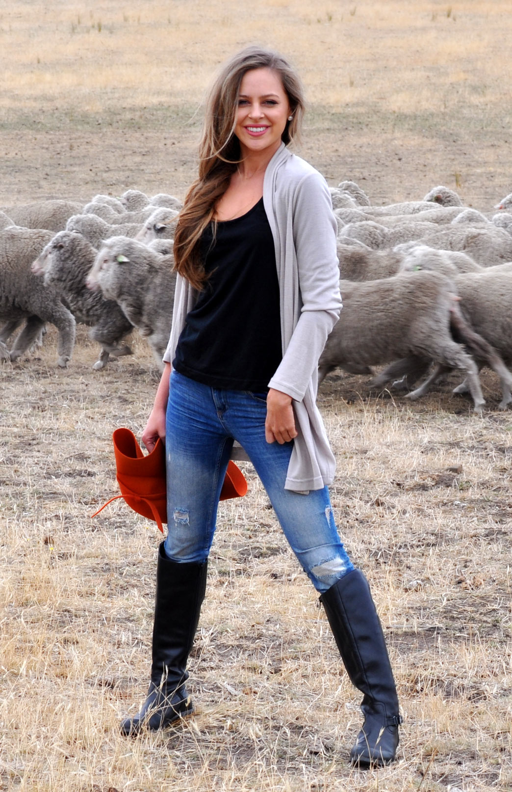 Drape Cardigan - Women's Stone Wool Drape Cardigan with no buttons or fastenings - Smitten Merino Tasmania Australia