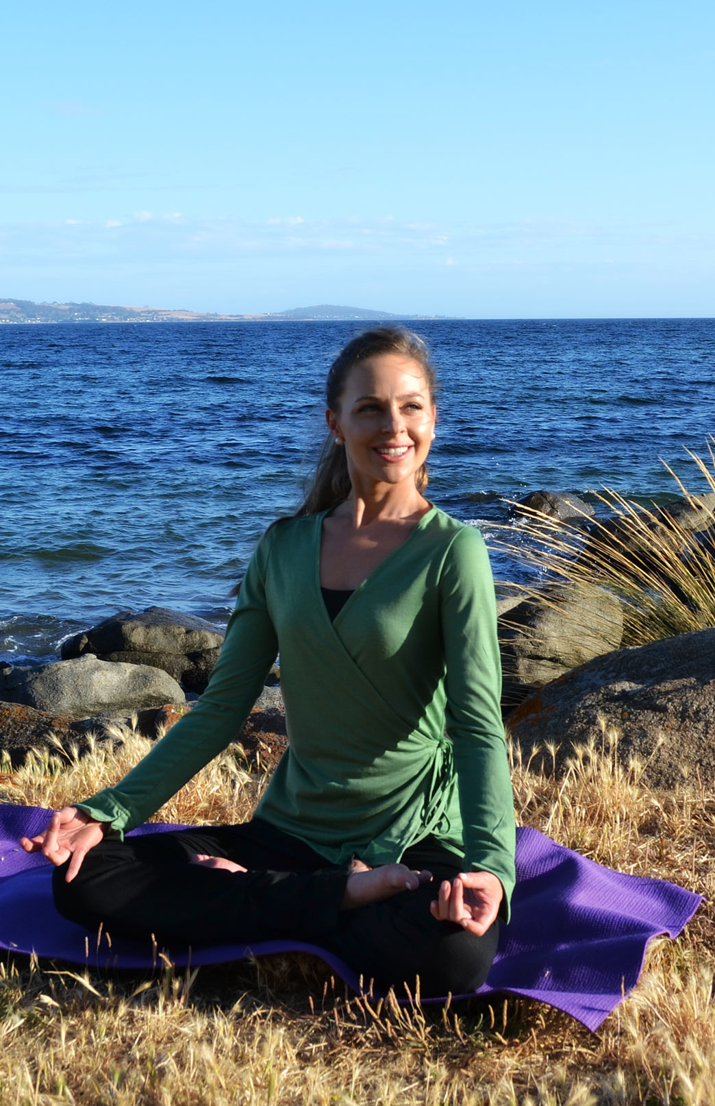 Wrap Top - Women's Artichoke Green Long Sleeved Wrap Top with Ties - Smitten Merino Tasmania Australia