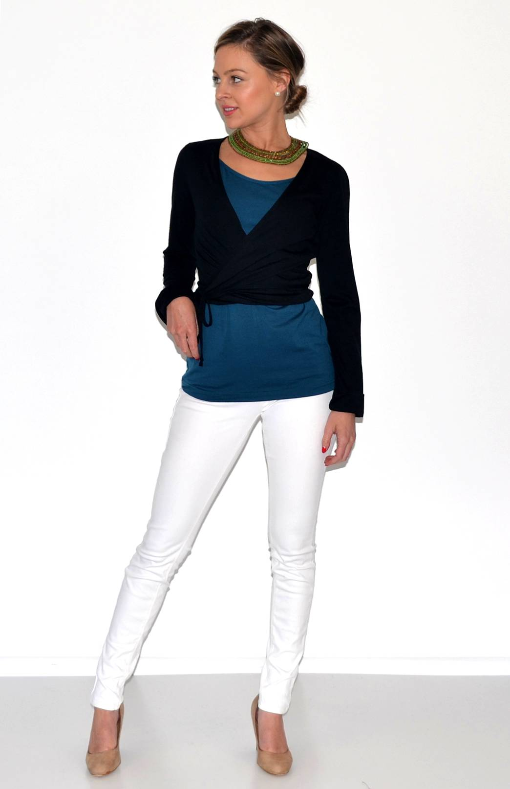 Wrap Top - Women's Black Long Sleeved Wrap Top with Ties - Smitten Merino Tasmania Australia