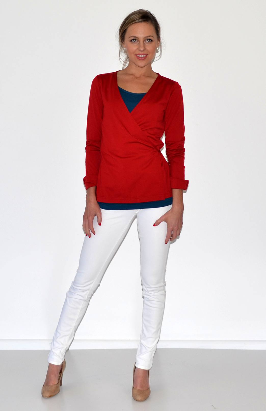 Wrap Top - Women's Flame Red Long Sleeved Wrap Top with Ties - Smitten Merino Tasmania Australia