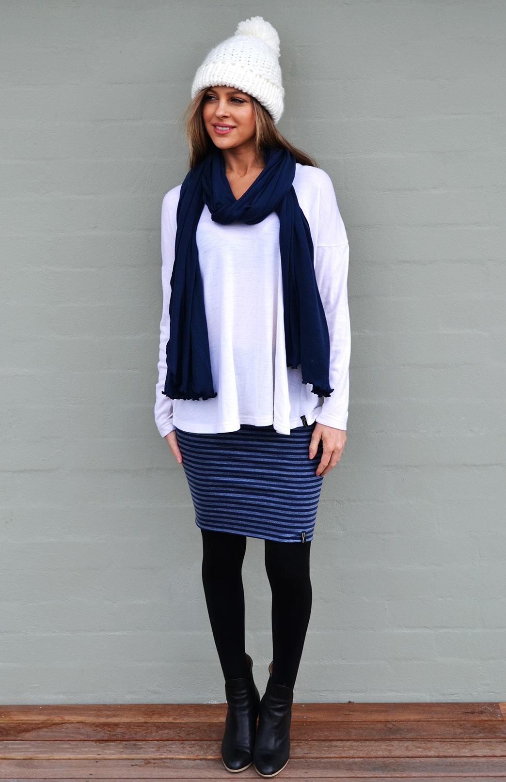 Short Tube Skirt - Striped - Women's Short Wool Mini Skirt - Smitten Merino Tasmania Australia