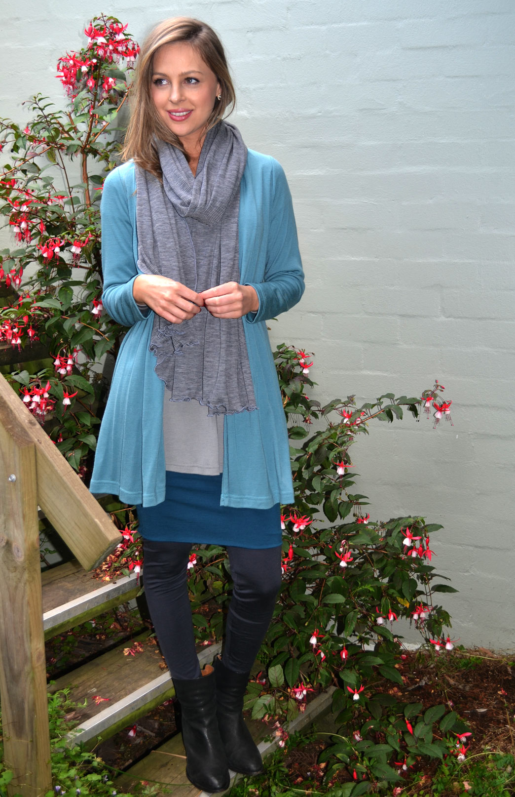 Short Tube Skirt - Women's Storm Teal Short Mini Wool Skirt - Smitten Merino Tasmania Australia