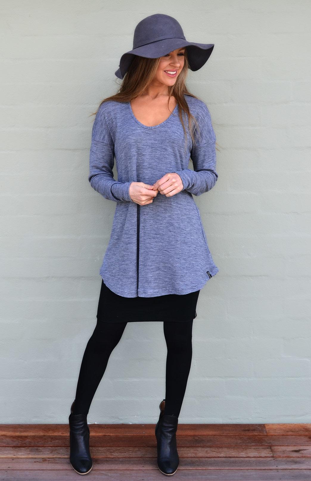 Wave Top - Women's Grey Pinstripe Relaxed Wool Top with dropped shoulders - Smitten Merino Tasmania Australia