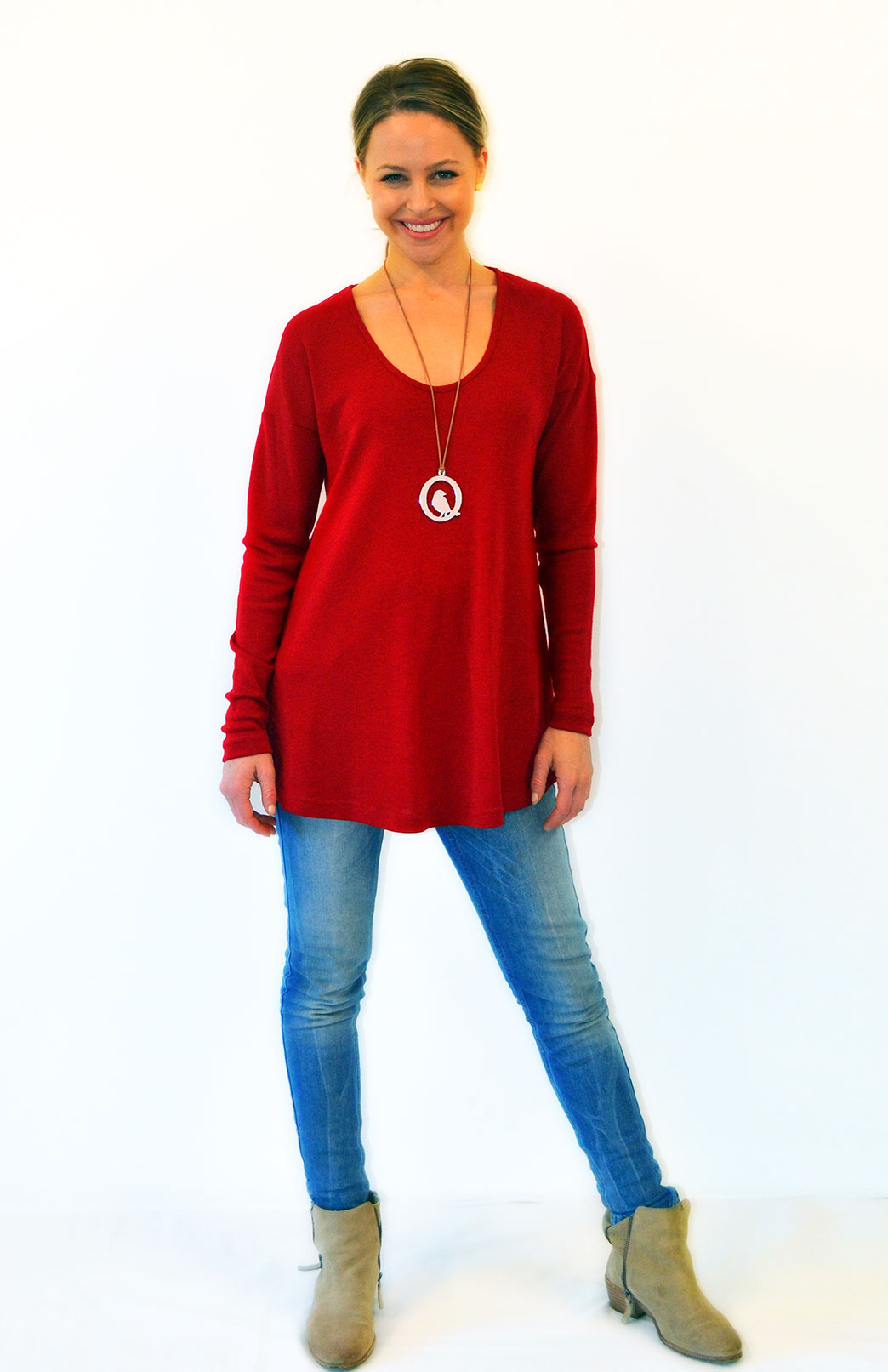 Wave Top in Chilli Red