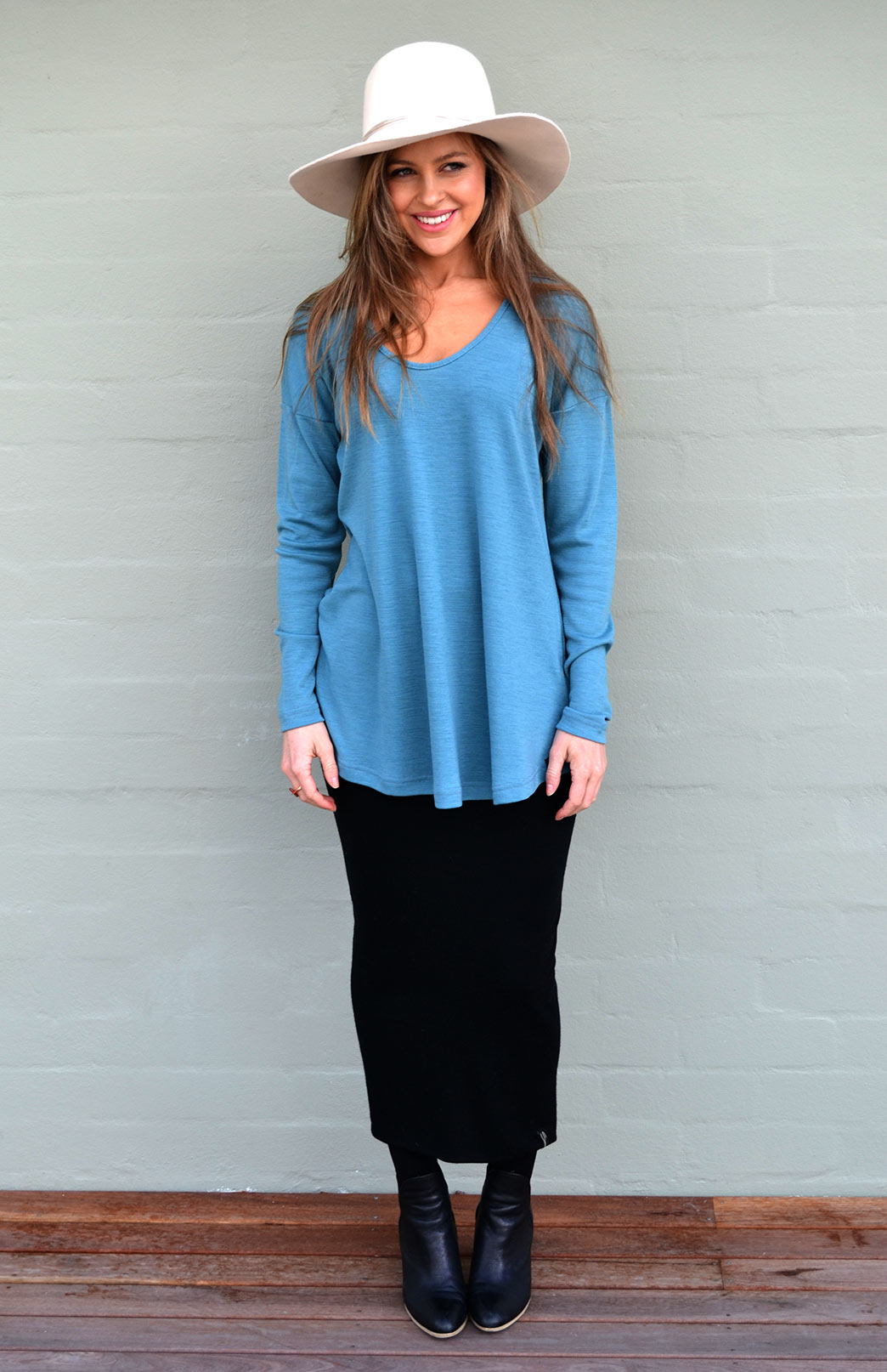 Wave Top - Women's Petrel Relaxed Fit Wool Top with dropped shoulder - Smitten Merino Tasmania Australia