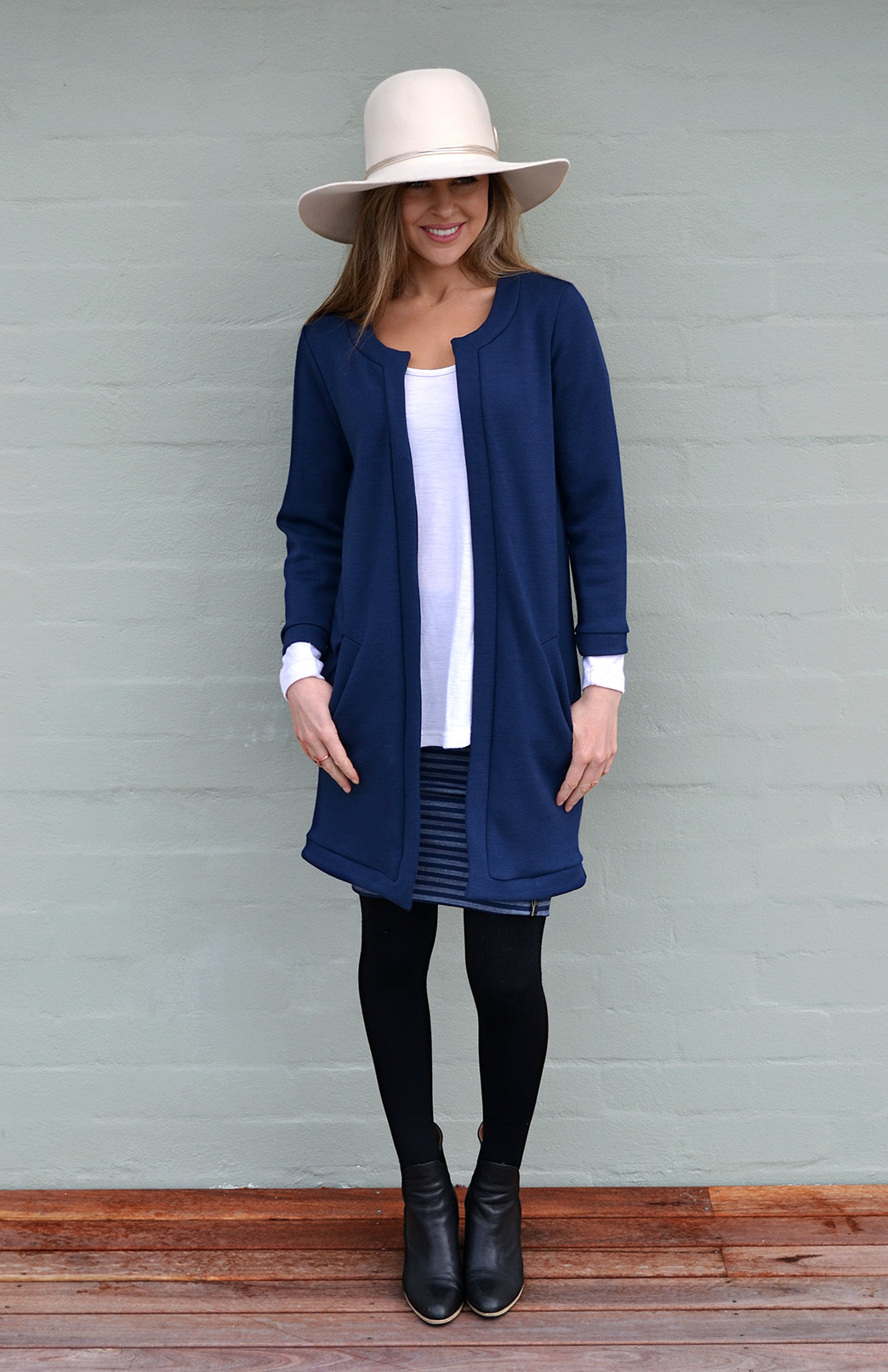 Long Coco Jacket - Women's Blue Merino Wool Long Coco Jacket - Smitten Merino Tasmania Australia