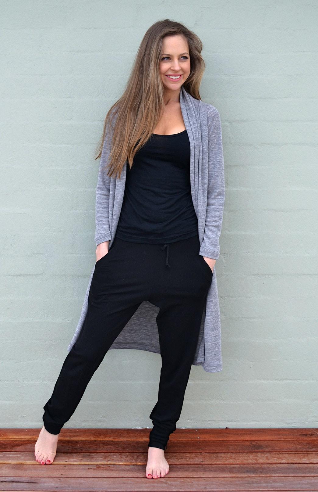 Lounge Pants - Women's Black Wool Jogger Pants with pockets and ties - Smitten Merino Tasmania Australia