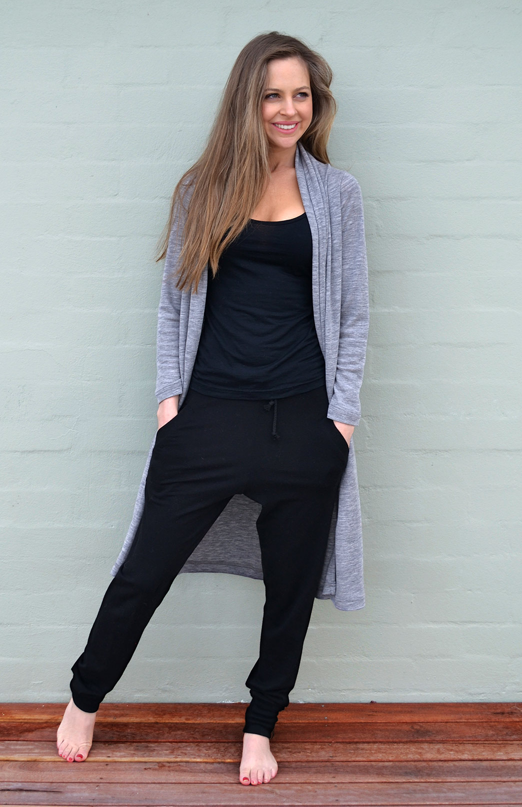Lounge Pants - Women's Black Wool Jogger Pants with pockets and ties - Smitten Merino Tasmania Australia