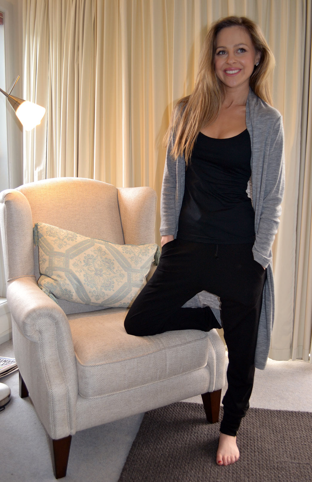 Lounge Set - Women's Black Wool Lounge Set of Jogger Pants and Camisole Top - Smitten Merino Tasmania Australia