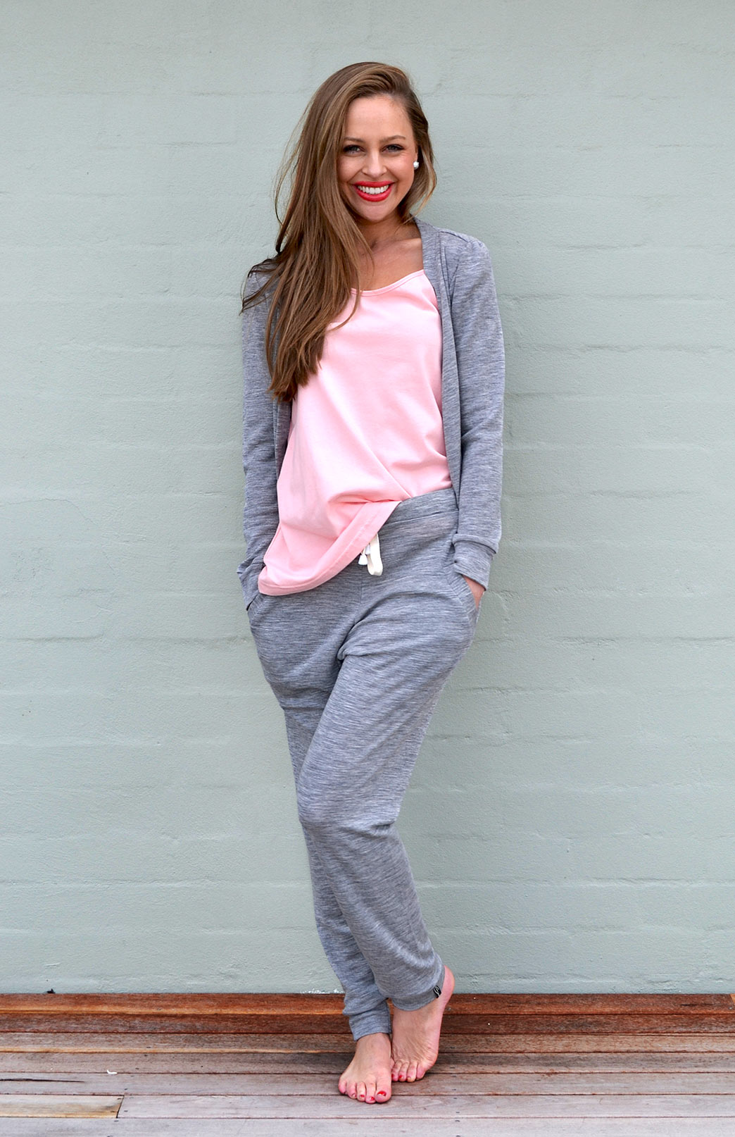 Lounge Pants - Women's Light Grey Jogger Pants with pockets and ties - Smitten Merino Tasmania Australia