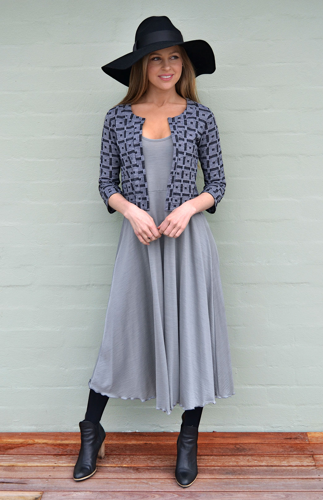 Coco Jacket - Lightweight - Women's Pure Wool Black and Grey Cropped Bolero Jacket - Smitten Merino Tasmania Australia
