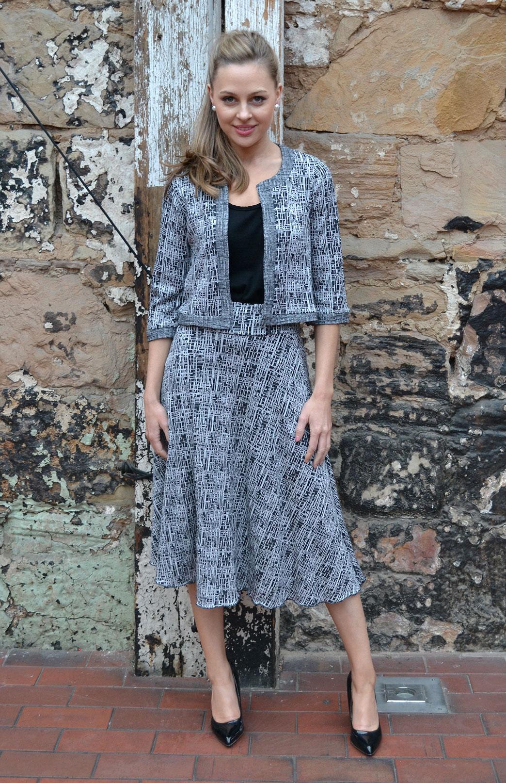 Coco Jacket - Women's Pure Wool Black and White Cropped Bolero Jacket - Smitten Merino Tasmania Australia