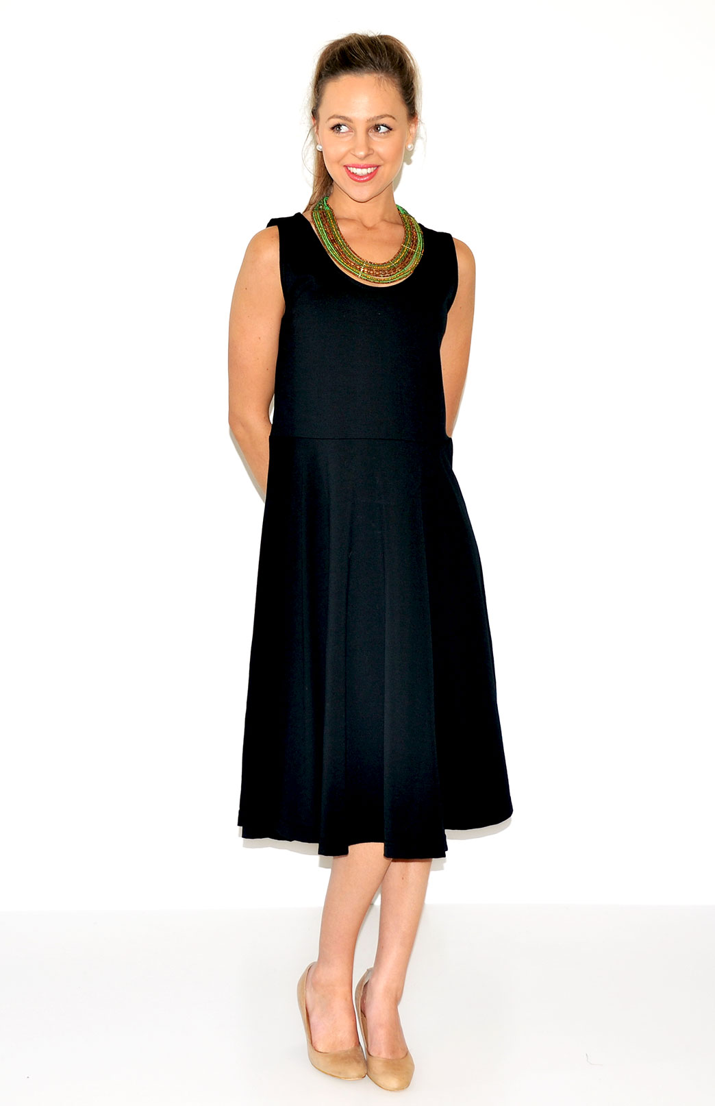 Jackie Dress - Sleeveless - Women's Black Sleeveless Jackie Dress with Waist Seam and Flared Skirt - Smitten Merino Tasmania Australia