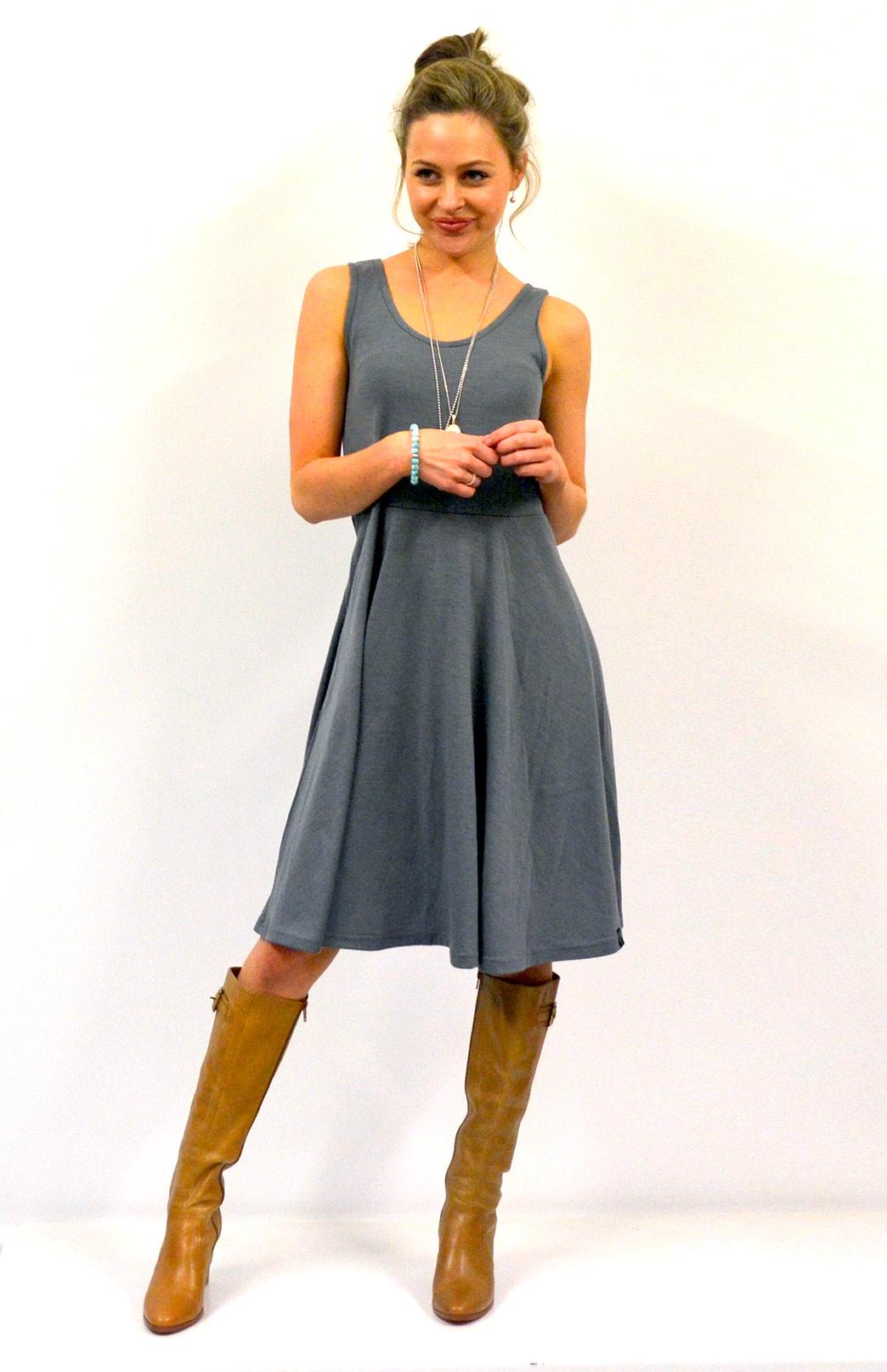 Jackie Dress - Sleeveless - Women's Smoke Grey Sleeveless Jackie Dress with Waist Seam and Flared Skirt - Smitten Merino Tasmania Australia