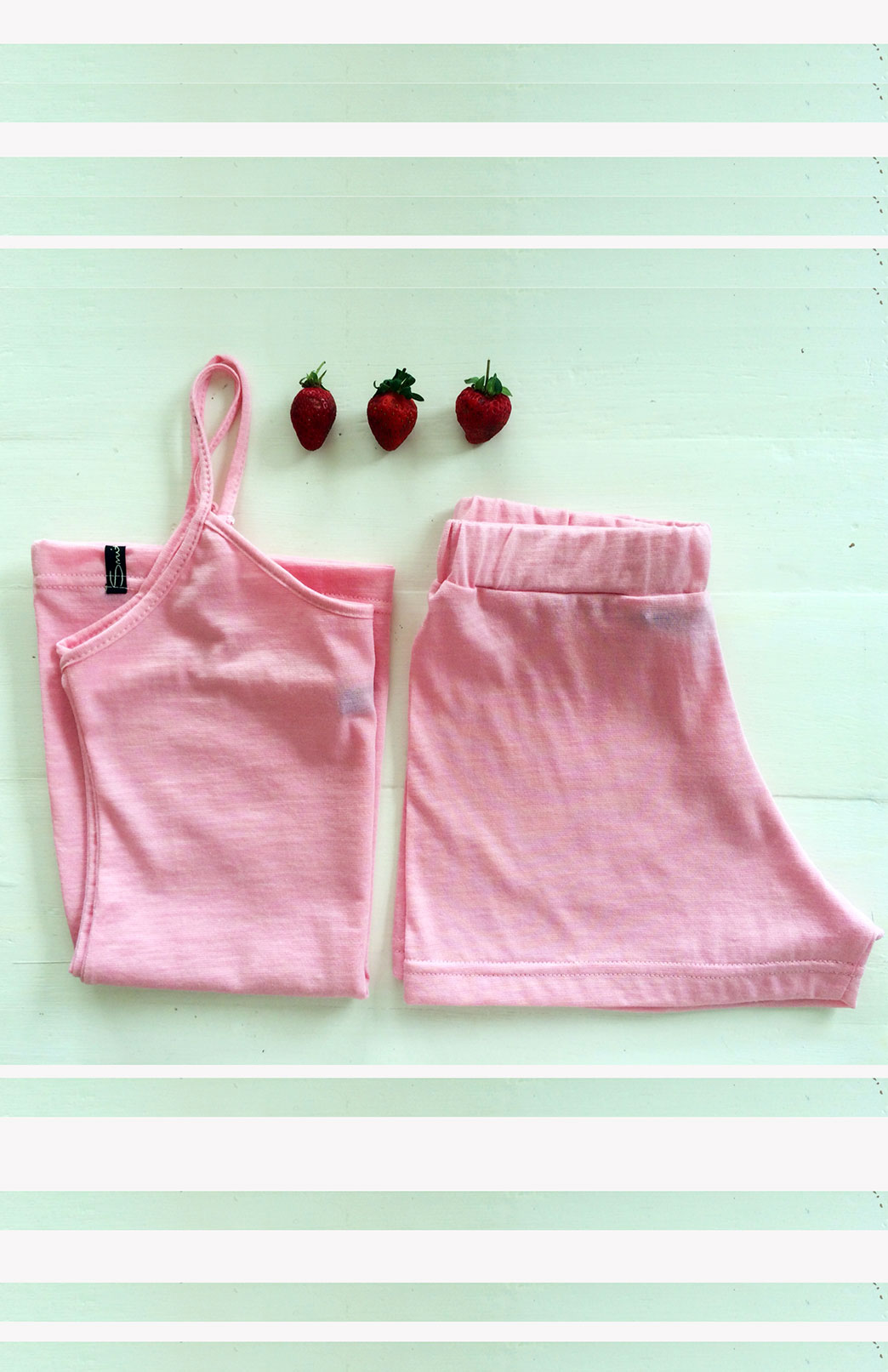 Organic Cotton/Merino Boxers and Camisole Set in Pink