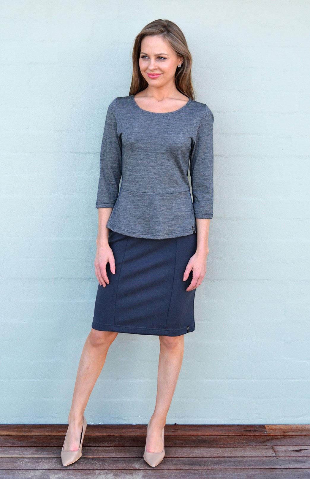 Peplum Top - 3/4 Sleeve - Women's Black Pinstripe Wool Cotton Blend 3/4 Sleeve Spring Top - Smitten Merino Tasmania Australia