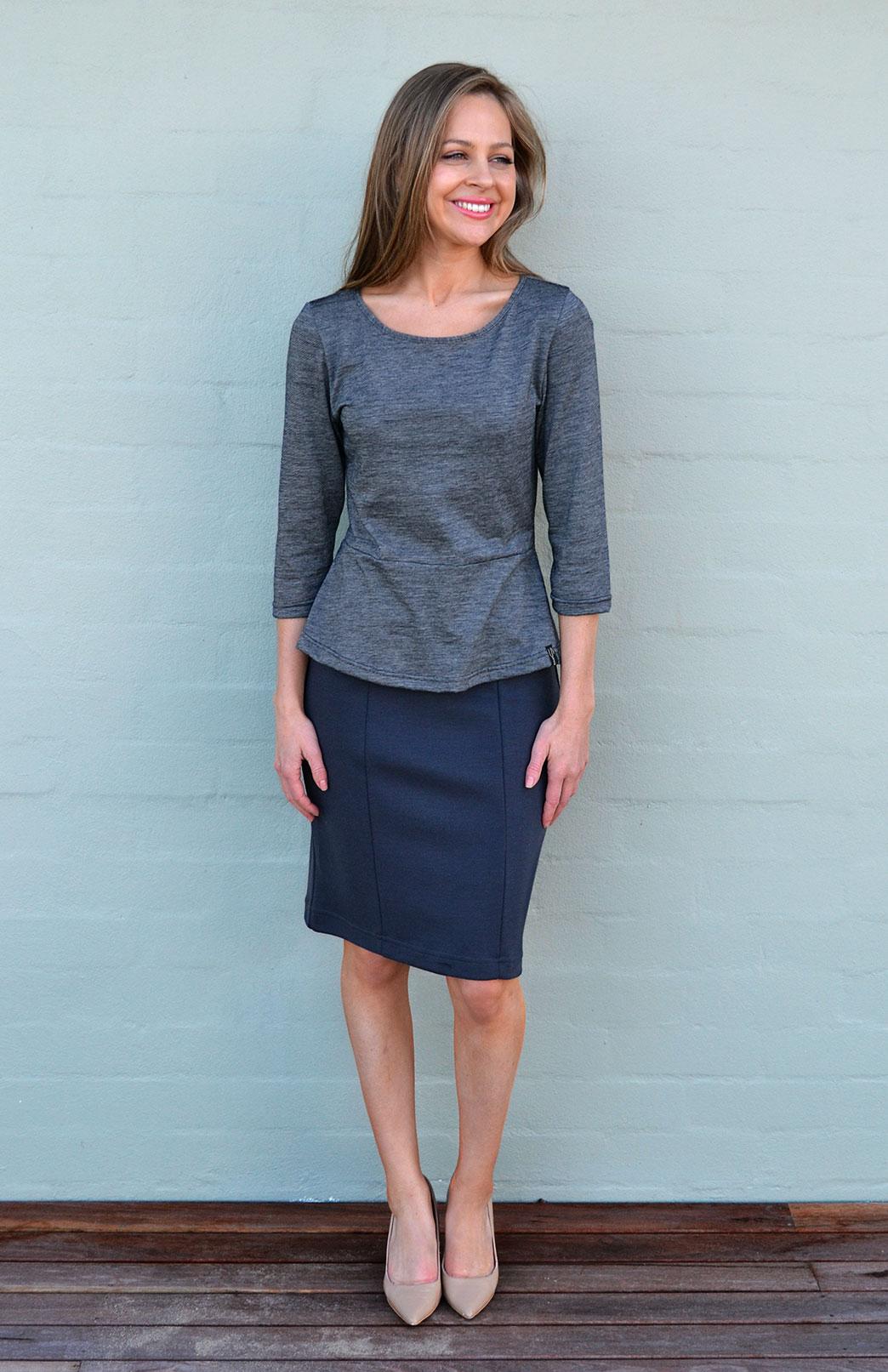 Straight Skirt - Women's Steel Grey Straight Office Skirt - Smitten Merino Tasmania Australia